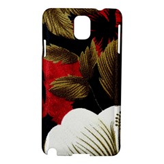 Paradis Tropical Fabric Background In Red And White Flora Samsung Galaxy Note 3 N9005 Hardshell Case
