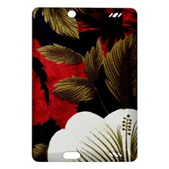 Paradis Tropical Fabric Background In Red And White Flora Amazon Kindle Fire Hd (2013) Hardshell Case