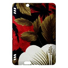 Paradis Tropical Fabric Background In Red And White Flora Kindle Fire Hdx Hardshell Case