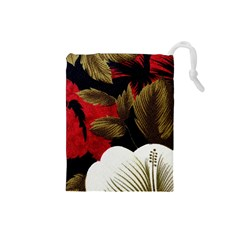 Paradis Tropical Fabric Background In Red And White Flora Drawstring Pouches (Small)