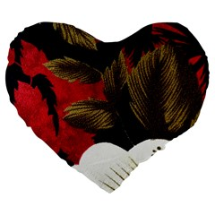 Paradis Tropical Fabric Background In Red And White Flora Large 19  Premium Flano Heart Shape Cushions