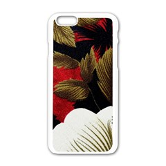 Paradis Tropical Fabric Background In Red And White Flora Apple Iphone 6/6s White Enamel Case
