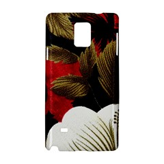 Paradis Tropical Fabric Background In Red And White Flora Samsung Galaxy Note 4 Hardshell Case