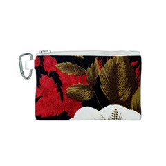 Paradis Tropical Fabric Background In Red And White Flora Canvas Cosmetic Bag (S)
