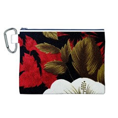 Paradis Tropical Fabric Background In Red And White Flora Canvas Cosmetic Bag (L)