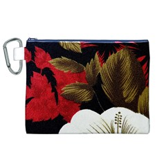 Paradis Tropical Fabric Background In Red And White Flora Canvas Cosmetic Bag (xl)
