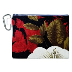 Paradis Tropical Fabric Background In Red And White Flora Canvas Cosmetic Bag (XXL)