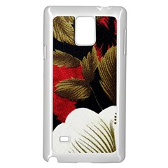 Paradis Tropical Fabric Background In Red And White Flora Samsung Galaxy Note 4 Case (White)