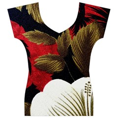 Paradis Tropical Fabric Background In Red And White Flora Women s V-Neck Cap Sleeve Top