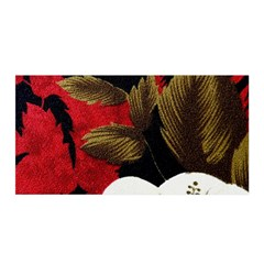 Paradis Tropical Fabric Background In Red And White Flora Satin Wrap