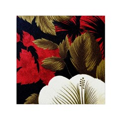 Paradis Tropical Fabric Background In Red And White Flora Small Satin Scarf (Square)