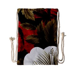 Paradis Tropical Fabric Background In Red And White Flora Drawstring Bag (Small)