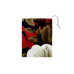 Paradis Tropical Fabric Background In Red And White Flora Drawstring Pouches (XS)