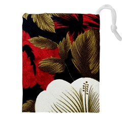 Paradis Tropical Fabric Background In Red And White Flora Drawstring Pouches (XXL)
