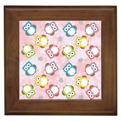 Owl Bird Cute Pattern Framed Tiles
