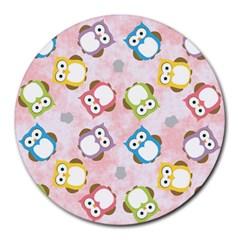 Owl Bird Cute Pattern Round Mousepads