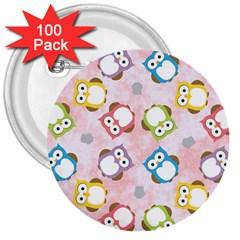 Owl Bird Cute Pattern 3  Buttons (100 pack)