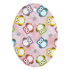 Owl Bird Cute Pattern Oval Ornament (Two Sides)