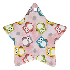 Owl Bird Cute Pattern Star Ornament (two Sides)