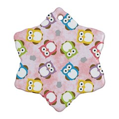 Owl Bird Cute Pattern Snowflake Ornament (Two Sides)