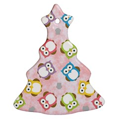 Owl Bird Cute Pattern Christmas Tree Ornament (Two Sides)