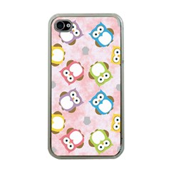 Owl Bird Cute Pattern Apple Iphone 4 Case (clear)