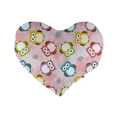 Owl Bird Cute Pattern Standard 16  Premium Heart Shape Cushions