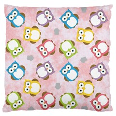 Owl Bird Cute Pattern Large Flano Cushion Case (one Side)