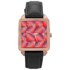Patriotic  Rose Gold Leather Watch