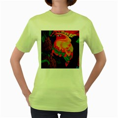 Parakeet Colorful Bird Animal Women s Green T-Shirt