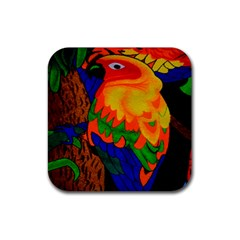 Parakeet Colorful Bird Animal Rubber Square Coaster (4 pack)