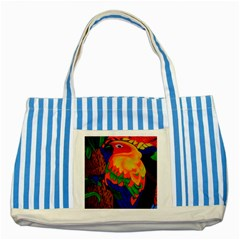 Parakeet Colorful Bird Animal Striped Blue Tote Bag