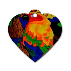 Parakeet Colorful Bird Animal Dog Tag Heart (Two Sides)