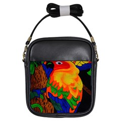 Parakeet Colorful Bird Animal Girls Sling Bags