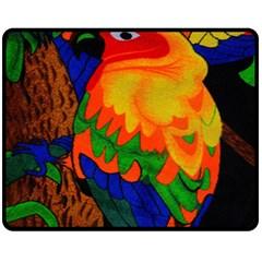 Parakeet Colorful Bird Animal Fleece Blanket (Medium)