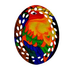 Parakeet Colorful Bird Animal Ornament (oval Filigree)