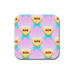 Pastel Heart Rubber Coaster (Square)