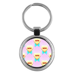 Pastel Heart Key Chains (Round)