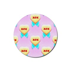 Pastel Heart Rubber Round Coaster (4 pack)