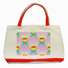 Pastel Heart Classic Tote Bag (red)