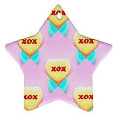 Pastel Heart Star Ornament (two Sides)