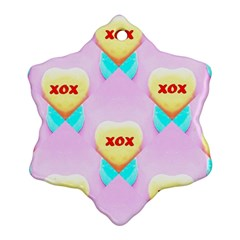 Pastel Heart Snowflake Ornament (two Sides)