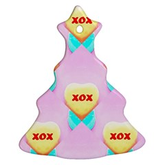 Pastel Heart Christmas Tree Ornament (Two Sides)