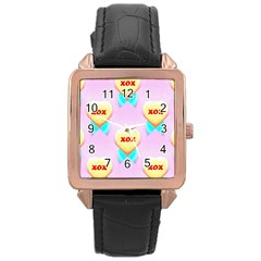 Pastel Heart Rose Gold Leather Watch
