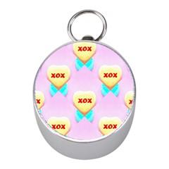 Pastel Heart Mini Silver Compasses