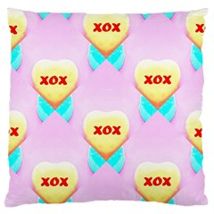 Pastel Heart Large Flano Cushion Case (two Sides)