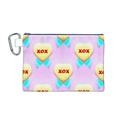 Pastel Heart Canvas Cosmetic Bag (m)