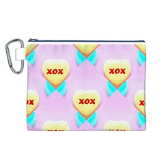 Pastel Heart Canvas Cosmetic Bag (l)