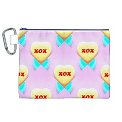 Pastel Heart Canvas Cosmetic Bag (XL)