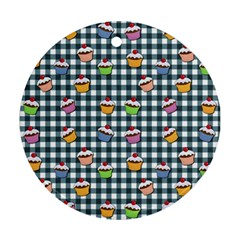 Cupcakes plaid pattern Ornament (Round)